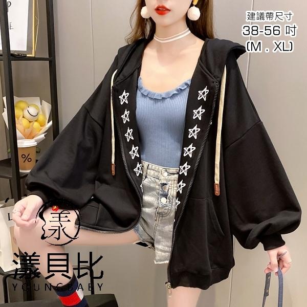 【YOUNGBABY中大碼】雙側印花星星拉鍊織衣外套.黑
