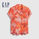 Gap女裝時尚花卉翻領短袖襯衫577663-藍色熱帶花卉