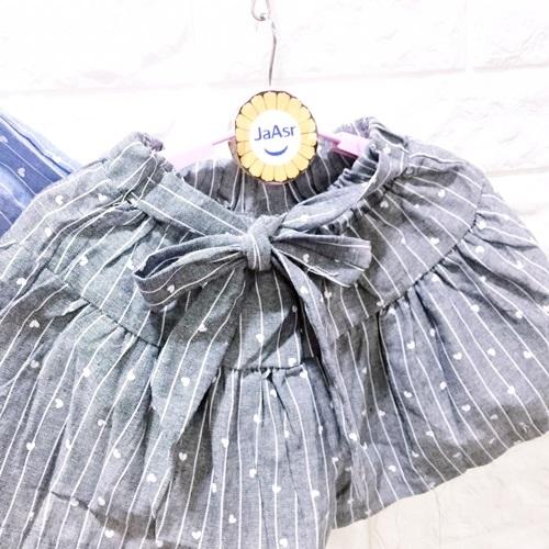 ☆棒棒糖童裝☆(E5380)夏女童鬆緊腰腰間綁帶條紋愛心平織褲裙 110-160