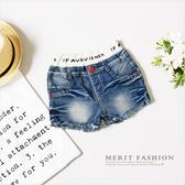 字母褲頭紅釦牛仔短褲美式 百搭復古女童 牛仔褲抽鬚鬆緊褲頭哎北比