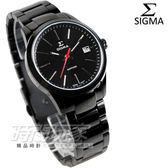 SIGMA 簡約都會風格IP 黑電鍍不銹鋼帶女錶防水手錶9814B B