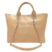 CHANEL 香奈兒 奶茶色牛皮手提肩背2way包 Deauville Shopping Bag【BRAND OFF】