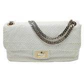 CHANEL 香奈兒 白色牛皮洞洞造型2.55銀鍊條包2.55 Single Flap Bag 【BRAND OFF】
