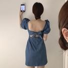 牛仔洋裝 韓國chic夏季法式小眾性感方領露背連身裙復古繫帶收腰顯瘦牛仔裙