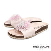 Tino Bellini 西班牙進口全真皮花飾舒足涼拖鞋 _ 粉膚 B83215 歐洲進口款