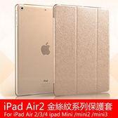 冰絲紋系列 蘋果 iPad Air2 Air iPad4 平板皮套 三折蠶絲紋 智慧休眠  iPad3 iPad2  Mini3 Mini2 Mini1 保護套