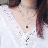 新款時尚ins冷淡風亮片網紗頸鍊簡約氣質百搭多層鎖骨鍊項鍊套裝