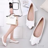 百搭尖頭內增高單鞋女白色淺口軟底小碼平底坡跟工作鞋女     俏女孩