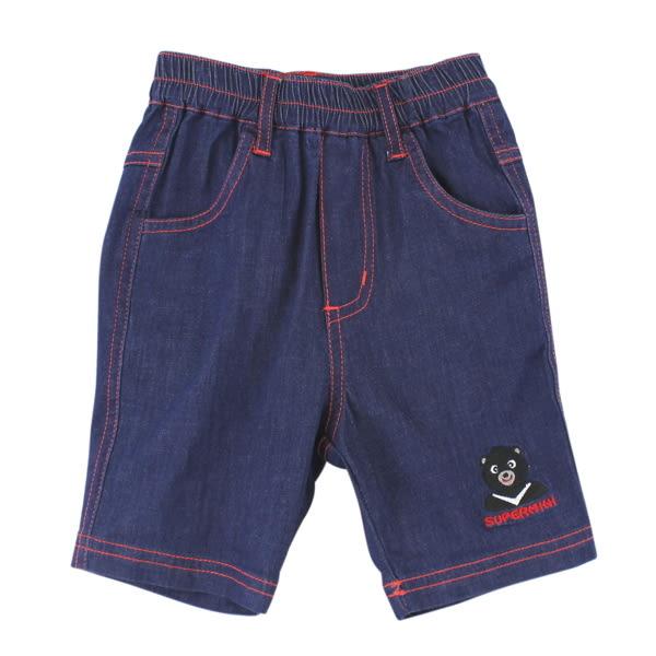 【愛的世界】鬆緊帶黑熊牛仔短褲/2歲-中國製- ★春夏下著 outlet零碼