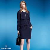 【SHOWCASE】假二件襯衫領長袖合身休閒厚棉洋裝(藍)