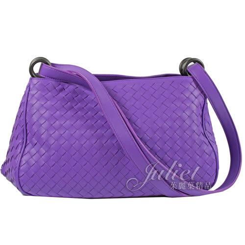 茱麗葉精品 全新精品 BOTTEGA VENETA 465912 經典編織羊皮雙帶肩斜背包.紫