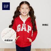 Gap女童 Logo保暖拉鏈長袖連帽休閒外套 395129-熱情紅