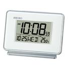 【台南 時代鐘錶 SEIKO】精工 鬧鐘 QHL068W 電子鐘 靜音 溫度日期星期顯示