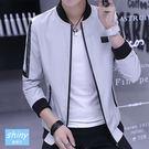 【Y176】shiny藍格子-簡約港風.配色拼接圓領薄款長袖外套