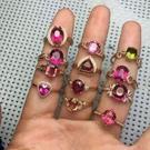 天然巴西碧璽糖果色碧璽18k玫瑰金鑲嵌寶石歐美女款可定制