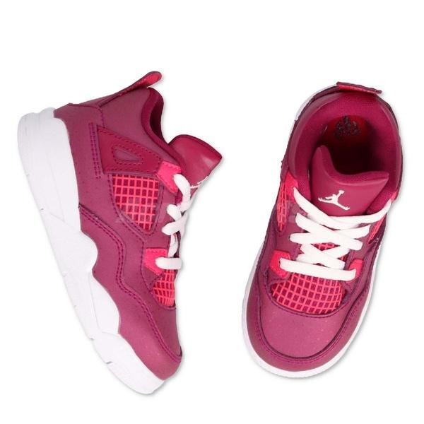 Nike Air Jordan 4 Retro TD Valentine's Day 桃紅 白 情人節 喬丹 四代 童鞋 小童鞋【PUMP306】 BQ7672-661