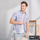 【JEEP】交錯格紋短袖襯衫(藍色)