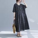 洋裝 - K6890 文藝藍格棉質洋裝【加大F】