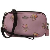 【COACH】專櫃款立體金屬LOGO全牛皮雙層手提斜背兩用包相機包(花卉粉紫)