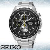 SEIKO 精工手錶專賣店   SSB261P1 三眼計時男錶 不鏽鋼錶帶 黑色錶面 防水100米 全新品 保固一年