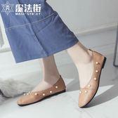 夏季女鞋百搭豆豆鞋學生懶人鞋一腳蹬休閒平底樂福鞋 魔法街