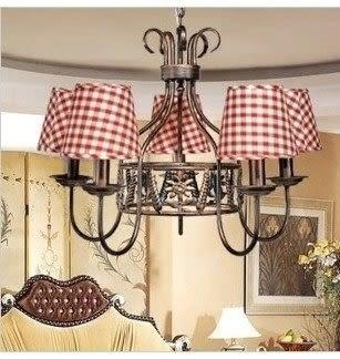 設計師美術精品館米拉燈飾 北歐美式鄉村鐵藝布罩燈 餐廳燈臥室燈具 5頭格子吊燈