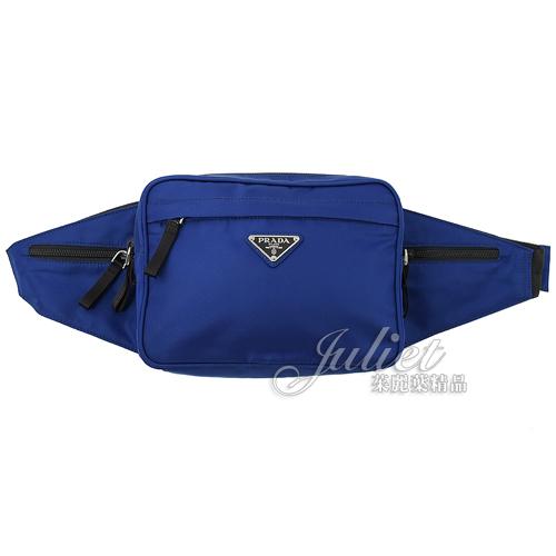 茱麗葉精品【全新現貨】PRADA 2VL001 三角LOGO尼龍布皮飾邊斜背腰包.藍