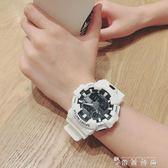 手錶男女學生韓版簡約休閒大氣電子錶時尚運動防水白 薔薇時尚