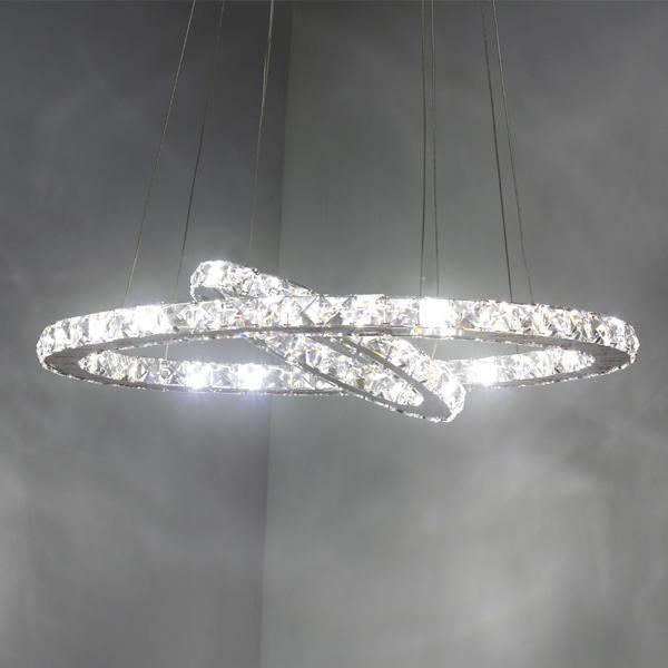 新古典風不鏽鋼鑽星環吊燈─二圈款─長67─白光52W【雅典娜家飾】AGH391二圈