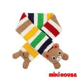 MIKI HOUSE 可愛普奇熊條紋保暖圍巾