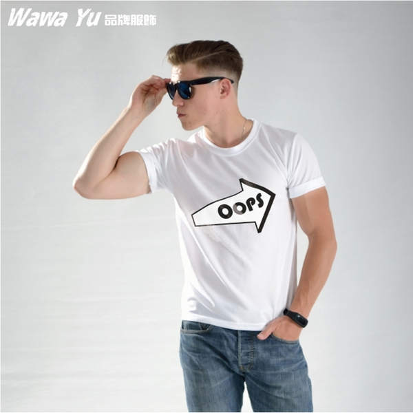 原創設計涼感短袖圖T恤 (男-中性款) (XS-2XL尺碼)(圖案名稱-Oops) [Wawa Yu品牌服飾]