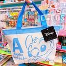 正版 迪士尼 星際寶貝 史迪奇 雙面圖案 帆布拉鍊便當袋 手提袋 收納袋 餐袋 購物袋 COCOS DK280