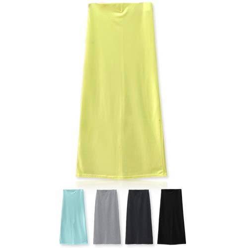 MIUSTAR 純色好搭款素面彈力後開衩合身棉質長裙(共5色)【NTA053RE】預購