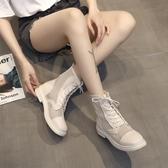 短靴 馬丁靴春秋夏季百搭女單靴涼鞋薄款透氣靴子短靴網眼網紗鏤空網靴-Ballet朵朵