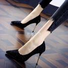 高跟鞋細跟女2021新款小清新百搭法式少女淺口尖頭網紅單鞋女鞋
