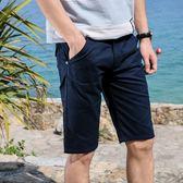 售完即止-夏季男士休閒短褲潮流時尚寬鬆五分褲男裝青少年沙灘褲中褲薄10-20(庫存清出T)