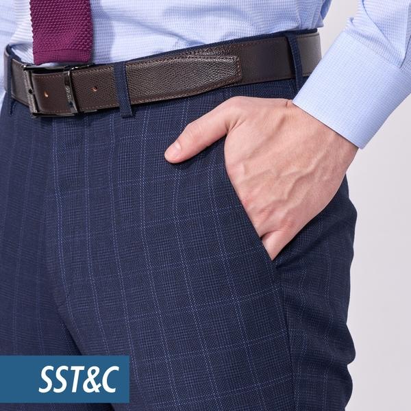 SST&C 男裝 海軍藍格紋裁縫西裝褲 | 0212010006