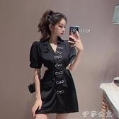 西裝連身裙裙子女夏季韓版設計感水鑽蝴蝶結收腰鏤空氣質顯瘦西裝短袖連身裙 伊莎公主