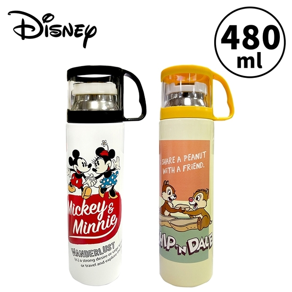 【正版授權】迪士尼 杯蓋型 保溫瓶 480ml 不鏽鋼保溫瓶 隨身瓶 水壺 米奇 米妮 奇奇蒂蒂 800164 800188