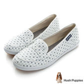 Hush Puppies 十字繡咖啡紗摩卡娃娃鞋-白色