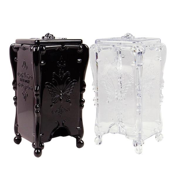 復古風格站立式化妝棉透明/黑色收納盒 乙入 ◆86小舖◆