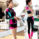 潛水服泳衣 長袖防曬運動背心平角褲顯瘦女游泳裝 迪澳安娜