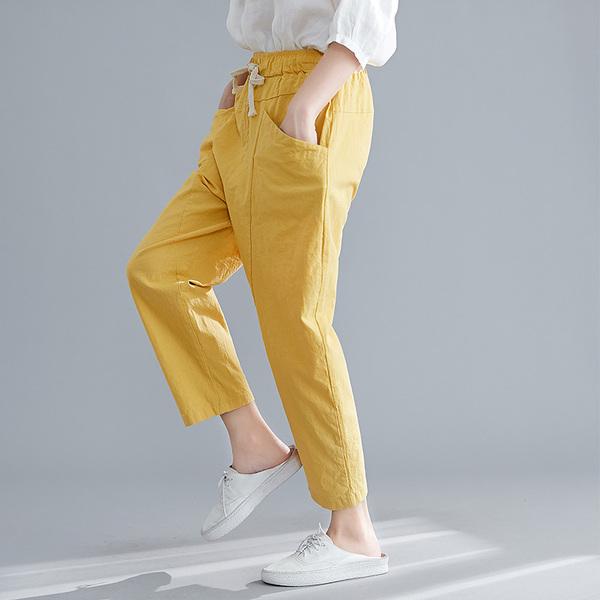休閒褲九分褲女夏季胖mm大碼女裝棉麻鬆緊腰寬鬆顯瘦蘿蔔褲哈倫褲