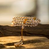 慕石 天然白水晶108顆佛珠手串白水晶手鍊女多圈情侶民族風白水晶