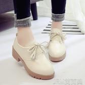 英倫風小皮鞋女秋季新款學生百搭樂福鞋復古粗跟中跟休閒單鞋 簡而美