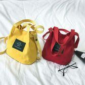 帆布袋 兒童帆布包女童 斜挎水桶包女迷你 新款可愛手提斜跨包韓版  瑪麗蘇