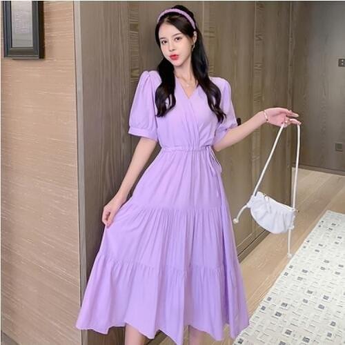 洋裝 連身裙 S-XL新款小清新v領顯瘦短袖收腰顯瘦大擺裙3F019-A-06931.皇潮天下