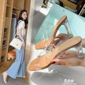 女涼鞋2020年新款夏季時裝仙女風中跟粗跟水晶涼拖鞋 青山市集