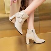 裸靴 短靴女高跟春秋單靴2021秋冬新款尖頭粗跟切爾西裸靴女網紅瘦瘦靴 霓裳細軟