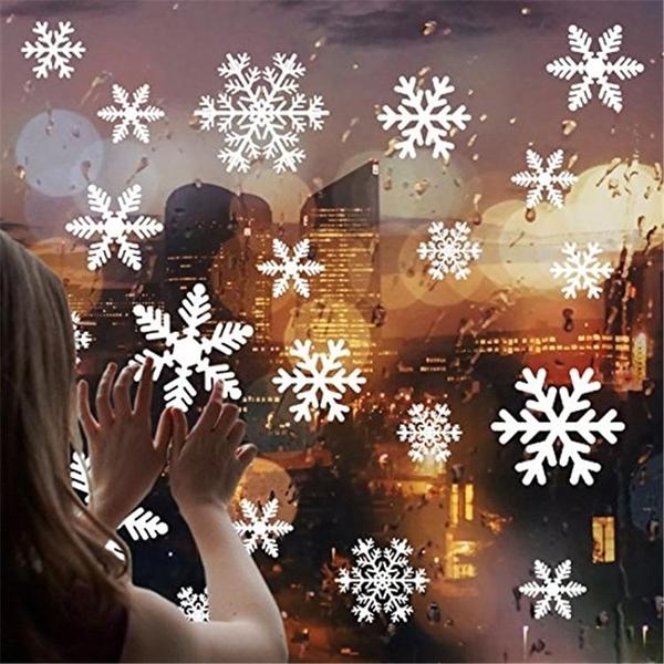 窗貼 聖誕節裝飾雪花靜電貼畫場景布置玻璃門櫥窗貼新年裝飾品聖誕貼紙【快速出貨八折搶購】